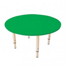 Стол детский круглый, 800х800х400-580 мм, регулируемый, рост 0-3 85-145 см, пластик зеленый, слоновая кость