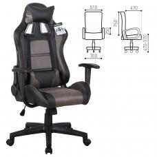 Кресло компьютерное BRABIX 'GT Racer GM-100', две подушки, ткань, экокожа, черное/коричневое
