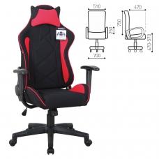 Кресло компьютерное BRABIX 'GT Racer GM-101', подушка, ткань, черное/красное