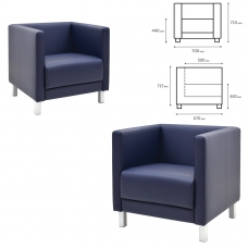Кресло мягкое 'М-01' 700х670х715 мм, c подлокотниками, экокожа, темно-синее