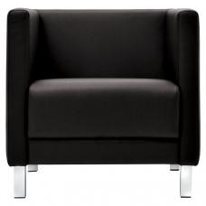 Кресло мягкое 'М-01' 700х670х715 мм, c подлокотниками, экокожа, черное