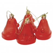 Украшения елочные подвесные 'Колокольчики', НАБОР 4 шт., 6,5 см, пластик, полупрозрачные, красные, 59596