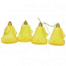 Украшения елочные подвесные 'Колокольчики', НАБОР 4 шт., 6,5 см, пластик, полупрозрачные, лимоннные, 59597