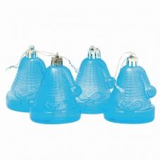 Украшения елочные подвесные 'Колокольчики', НАБОР 4 шт., 6,5 см, пластик, полупрозрачные, голубые, 59598
