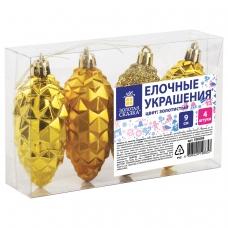 Украшения елочные ЗОЛОТАЯ СКАЗКА 'Шишки', НАБОР 4 шт., пластик, 9 см, цвет золотистый