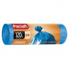 Мешки для мусора 120 л, синие, в рулоне 10 шт., ПНД, 20 мкм, 110х70 см, PACLAN 'Classic'