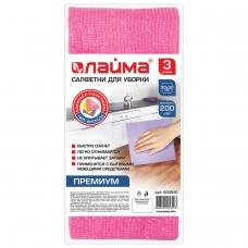 Салфетки универсальные, 30х30 см, комплект 3 штуки, 200 г/м2, вискоза ткань, ЛАЙМА премиум колор, 600840
