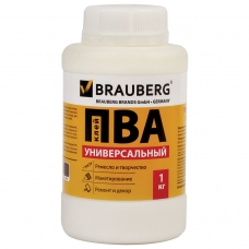 Клей ПВА BRAUBERG, 1 кг, универсальный бумага, картон, дерево, 600983
