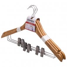 Вешалки-плечики, размер 48-50, КОМПЛЕКТ 3 шт., деревянная, клипсы для брюк, цвет сосна, BRABIX 'Стандарт', 601170