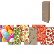 Бумага упаковочная подарочная, в рулонах, глянцевая, 2 листа, 0,7х1 м, рисунок ассорти женский