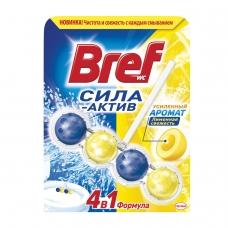 Освежитель WC для туалета твердый 50 г, BREF Бреф Сила-Актив, 'Лимонная свежесть'