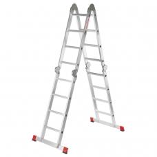 Лестница-трансформер алюминиевая 4х4 ступени, высота 4,5 м 4 секции по 1,2 м до 225 кг, вес 16,5 кг, НОВАЯ ВЫСОТА, 604404