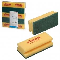 Губки VILEDA Виледа, комплект 10 шт., для любых поверхностей, желтые, зеленый абразив, 7х15 см, 101397