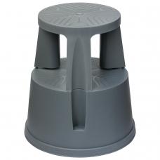 Лестница-тумба 43 см, 2 ступени, передвижная, пластиковая, нагрузка 150 кг, вес 1,5 кг, серая, 640104