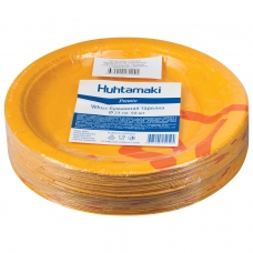 Одноразовые тарелки диаметр 230 мм, КОМПЛЕКТ 50 шт., КАРТОН, холодное/горячее, ХУХТАМАКИ Whizz