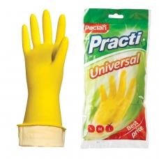 Перчатки хозяйственные резиновые PACLAN 'Universal', с х/б напылением, размер L большой, желтые