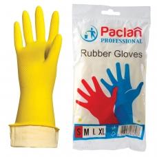 Перчатки хозяйственные резиновые PACLAN 'Professional', с х/б напылением, размер S малый, желтые