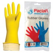 Перчатки хозяйственные резиновые PACLAN 'Professional', с х/б напылением, размер M средний, желтые