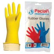 Перчатки хозяйственные резиновые PACLAN 'Professional', с х/б напылением, размер L большой, желтые