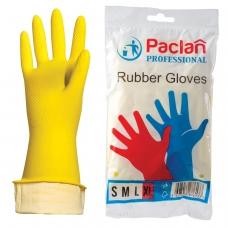Перчатки хозяйственные резиновые PACLAN 'Professional', с х/б напылением, размер XL очень большой, желтые
