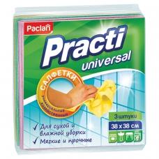 Салфетки универсальные, комплект 3 шт., 38х38 см, PACLAN Practi, нетканое полотно, 410018