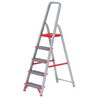 Лестница-стремянка 5 ступеней (широкие), высота 1,1 м, нагрузка 225 кг, алюминиевая, вес 5,1 кг, 5110105