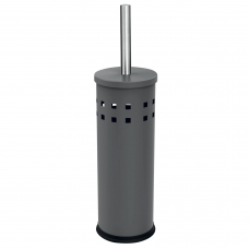 Ерш для унитаза ЛАЙМА, с подставкой, металл, серый, матовый, 604961