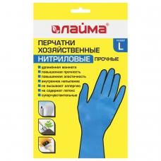 Перчатки НИТРИЛОВЫЕ МНОГОРАЗОВЫЕ, гипоаллергенные ЛАЙМА ПРОЧНЫЕ, х/б напыление, размер L, 604999