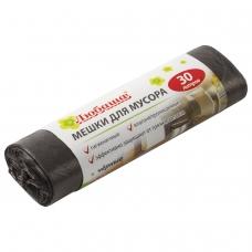 Мешки для мусора 30 л, черные в рулоне 20 шт., ПНД, 5 мкм, 47х55 см ±5%, эконом, ЛЮБАША