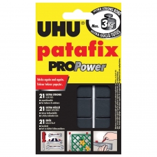 Подушечки клеящие UHU Patafix ProPower, 21 шт., сверхпрочные до 3 кг, многоразовые, черные, 40790