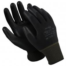 Перчатки нейлоновые MANIPULA 'Микропол', полиуретановое покрытие облив, размер 9 L, черные, TPU-12
