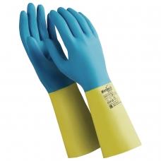 Перчатки латексно-неопреновые MANIPULA 'Союз', хлопчатобумажное напыление, размер 7-7,5 S, синие/желтые, LN-F-05