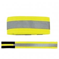 Повязка светоотражающая на руку, 430х55 мм, на липучке, лимонная
