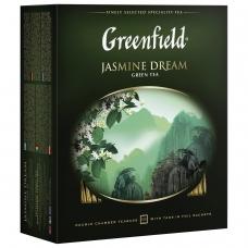 Чай GREENFIELD Гринфилд 'Jasmine Dream' 'Жасминовый сон', зеленый с жасмином, 100 пакетиков в конвертах по 2 г, 0586-09