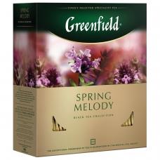 Чай GREENFIELD Гринфилд Spring Melody Мелодия весны, черный с чабрецом, 100 пакетиков в конвертах по 1,5 г, 1065-09