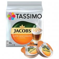 Капсулы для кофемашин TASSIMO JACOBS 'Latte Macchiato Caramel', натуральный кофе 8 шт. х 8 г, молочные капсулы 8 шт. х 21,7 г, Latte Caramel