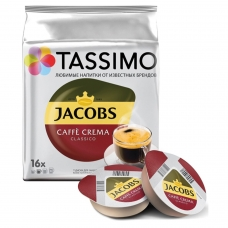 Капсулы для кофемашин TASSIMO JACOBS 'Caffe Crema', натуральный кофе, 16 шт. х 7 г