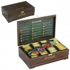 Чай GREENFIELD Гринфилд, набор 96 пакетиков 8 вкусов по 12 пакетиков в деревянной шкатулке, 177,6 г, 0463-10
