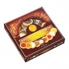 Печенье БИСКОТТИ , ассорти 9 видов, сдобное, 345 г, картонная коробка