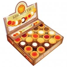 Печенье БИСКОТТИ 'Ассорти', 9 видов, глазированное, сдобное, 1,9 кг, картонный шоу-бокс