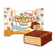 Конфеты шоколадные РОТ ФРОНТ 'Коровка', вафельные с молочной начинкой, 250 г, пакет, РФ09755