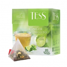 Чай TESS Тесс 'Ginger Mojito', зеленый с ароматом мяты и лайма, 20 пирамидок по 1,8 г, 0788-12