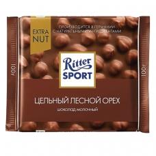 Шоколад RITTER SPORT 'Extra Nut', молочный, с цельным лесным орехом, 100 г, 7006