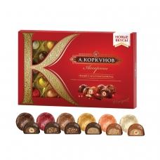 Конфеты шоколадные А.КОРКУНОВ, ассорти, из темного и молочного шоколада, 192 г, картонная коробка, 10155600
