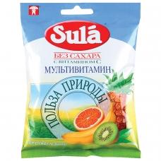 Конфеты-карамель SULA Зула леденцовая, 'Мультивитамин', 60 г, пакет, 86589