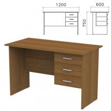 Стол письменный 'Канц', 1200х600х750 мм, тумба 3 ящика, цвет орех пирамидальный, СК27.9