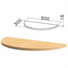 Стол приставной полукруг 'Канц', 600х300х750 мм, БЕЗ ОПОРЫ, цвет бук невский, ПК35.10
