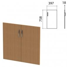 Дверь ЛДСП низкая 'Этюд', комплект 2 шт., 397х18х758 мм, бук бавария, 400006-55