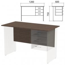 Столешница, царга стола письменного с тумбой 'Канц' 1200х600х750 мм, цвет венге, СК50.16.1