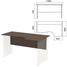 Столешница, царга стола эргономичного 'Канц' 1400х800х750 мм, правый, цвет венге, СК30.16.1